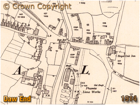 Rushall : Map extract showing Daw End [1914]