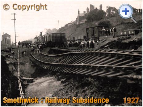 Flood damage and railway subsidence at Smethwick [1927]
