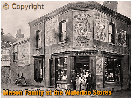 Titus Mason and family outside the Waterloo Stores at Smethwick in Staffordshire [c.1904]