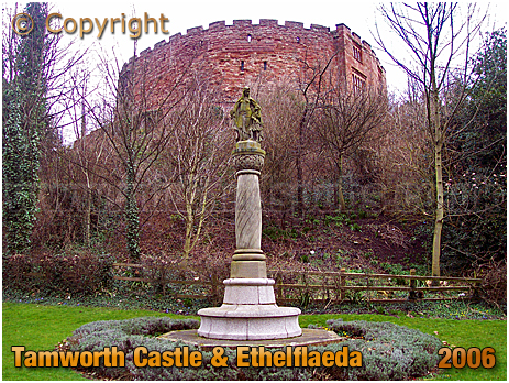 Tamworth : Statue of Ethelflaeda and The Castle [2006]