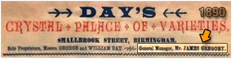 James Gregory as General Manager on the header of a poster for Day's Crystal Palace of Varieties [1890]