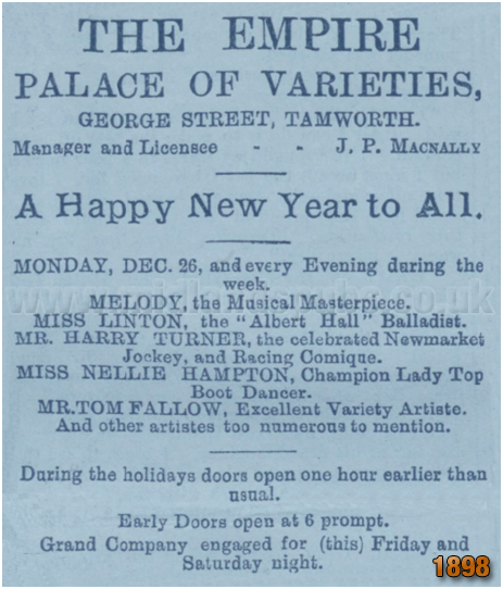 Tamworth : Notice for the Empire Palace of Varieties [1898]