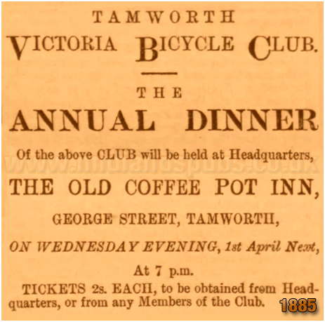 Tamworth : Annual Dinner of the Victoria Bicycle Club held at the Old Coffee Pot Inn on George Street [1885]