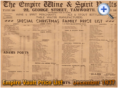Tamworth : Christmas Price List of The Empire Wine & Spirit Vaults on George Street [1937]