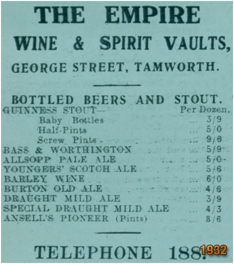 Tamworth : Bottled Beers and Stout Price List [1932]