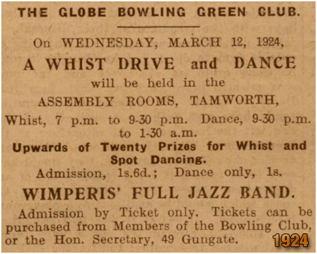 Tamworth : Globe Bowling Green Club Whist Drive and Dance [March 1924]