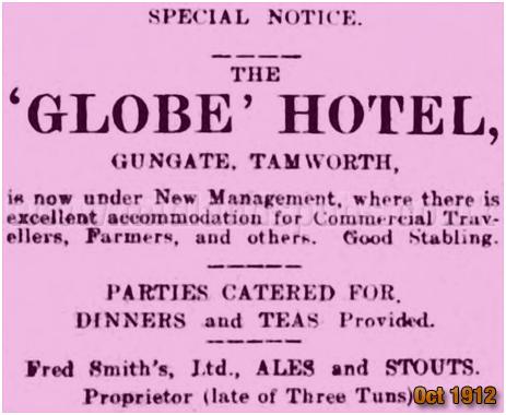 Tamworth : Advertisement for the Globe Inn [October 1912]