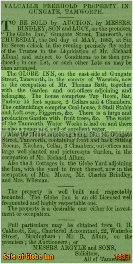 Tamworth : Sale Notice for the auction of the Globe Inn [1883]