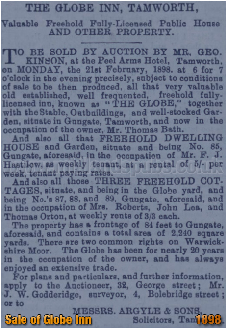 Tamworth : Sale Notice for the auction of the Globe Inn [February 1898]
