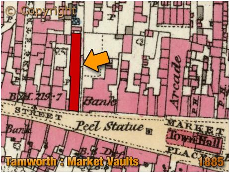 Tamworth : Map Showing Market Vaults [1885]
