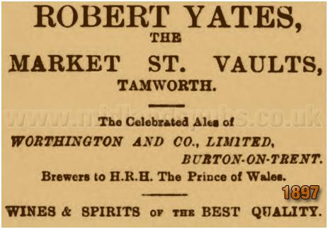 Tamworth : Advertisement for the Market Vaults run by Robert Yates [1897]