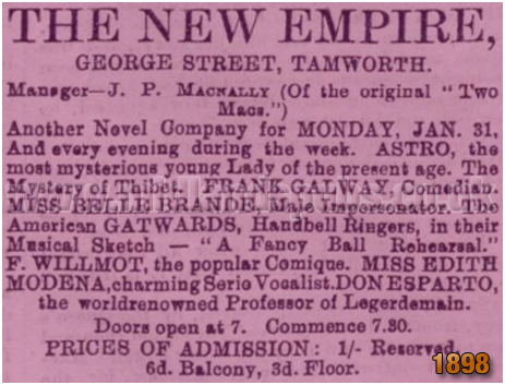 Tamworth : Notice for the New Empire in George Street [1898]