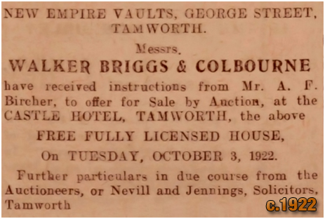 Tamworth : Notice for an auction of the New Empire Vaults [1922]