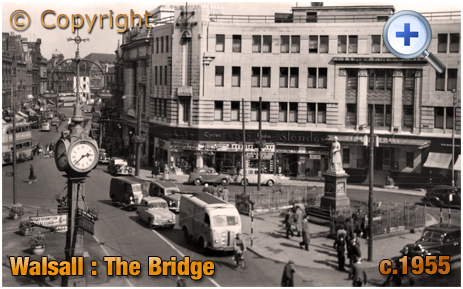 Walsall : New George Hotel and Statue of Sister Dora at The Bridge [c.1955]