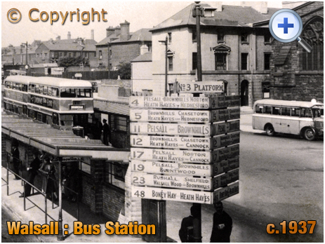 Walsall : Bus Information and Destinations at the Station [c.1937]