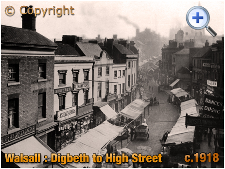 Walsall : Elevated view of Digbeth and High Street [c.1918]