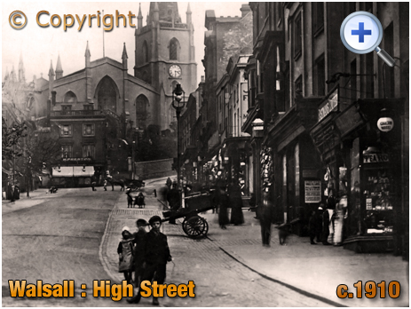Walsall : The High Street and Church [c.1910]