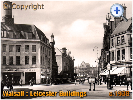 Walsall : Leicester Buildings and Bridge Street [c.1938]