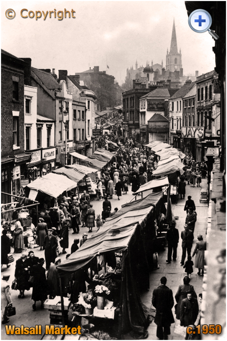 Walsall : The Market at Digbeth and High Street [c.1950]