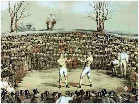 """Used for Illustration Purposes Only [It is a painting by Jem Ward of the fight for the """"Championship of England and America"""" between Thomas Sayers and John C. Heenan in 1860]"""