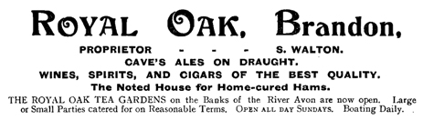Advertisement for the Royal Oak Inn at Brandon [1914]