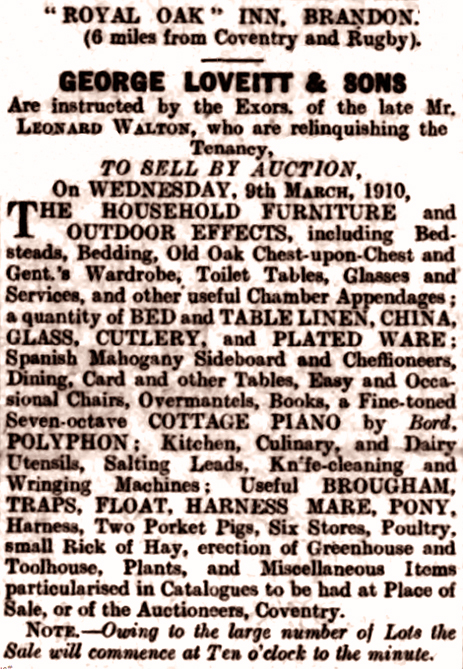 Advertisement for an auction of the contents of the Royal Oak Inn at Brandon [1910]