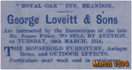 Advertisement for an auction of the furniture within the Royal Oak Inn at Brandon [1914]