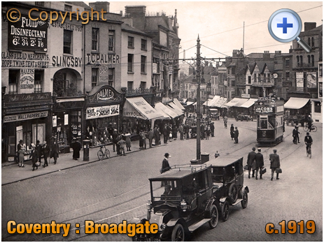 Coventry : Broadgate Shops and Taxi Rank [c.1919]