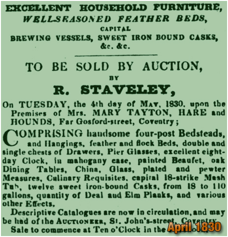 Coventry : Advertisement for an auction of the Hare and Hounds on Far Gosford Street [1830]