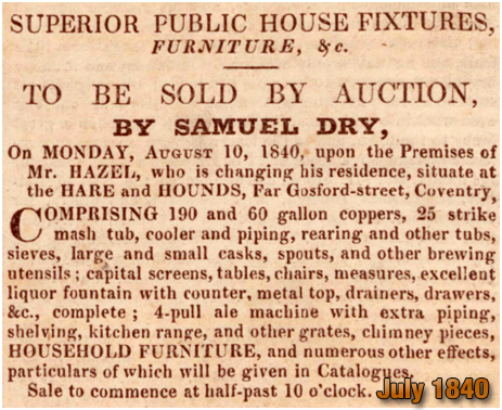 Coventry : Sale of Brewing Plant and Furniture at the Hare and Hounds on Far Gosford Street [1840]