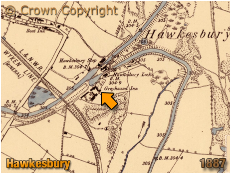 Hawkesbury : Map Extract showing the location of the Greyhound Inn [1887]