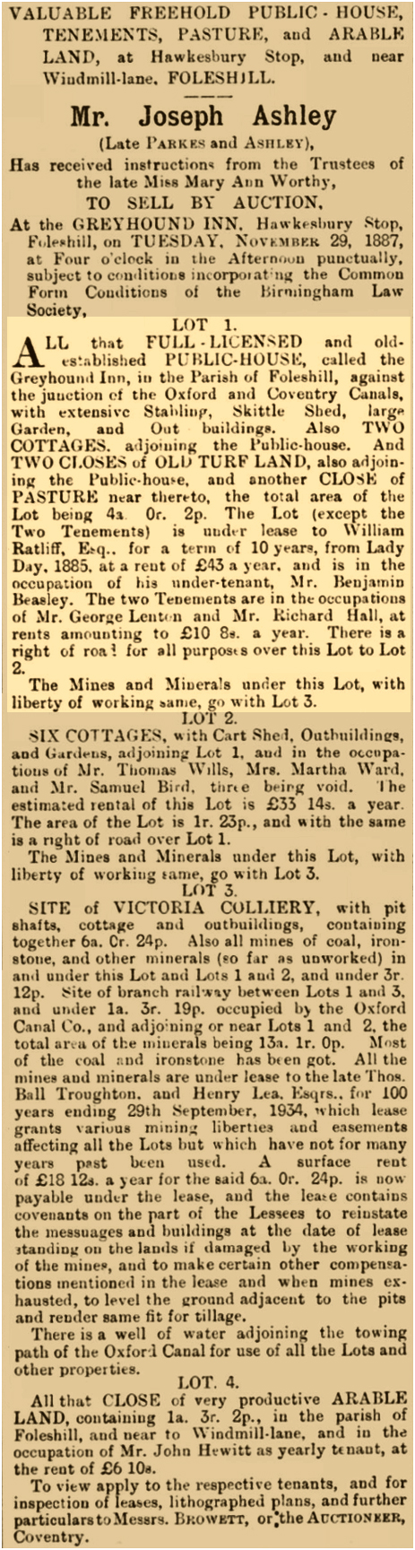 Foleshill : Auction Sale of The Greyhound at Hawkesbury Stop [1887]