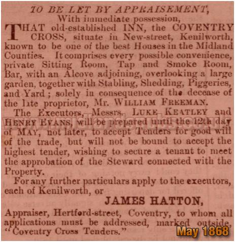 Kenilworth : Invitation for Tenders for the Coventry Cross Inn on New Street [1868]