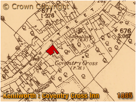 Kenilworth : Map Extract showing the location of the Coventry Cross Inn on New Street [1885]