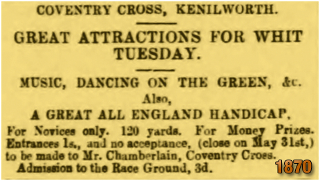 Kenilworth : Whit Tuesday Attractions at the Coventry Cross Inn [1870]