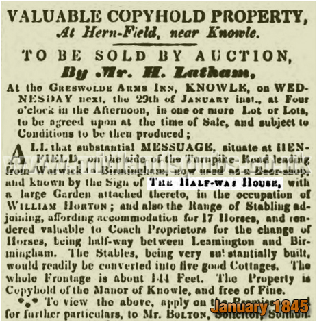 Advertisement for an auction of the Half-Way House at Hernfield near Knowle [1845]