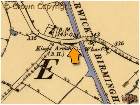 Map showing the location of the King's Arms at Knowle in Warwickshire [1886]