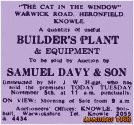 Advertisement for auction of Builder's Plant and Equipment at the Cat in the Window at Knowle [1968]