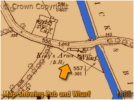 Extract of Map showing the Canal Wharf next to the King's Arms at Knowle [1888]