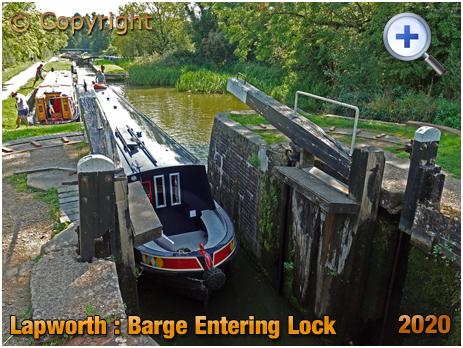 Lapworth : Barge Entering Lock on Stratford-upon-Avon Canal [2020]