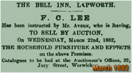 Advertisement for the sale of the household furniture at the Bell Inn at Lapworth [1882]