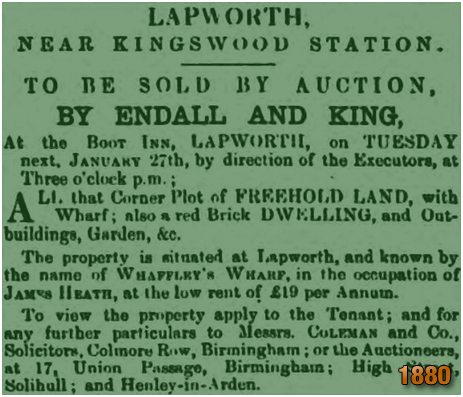 Lapworth : Advertisement for an auction of Whaffley's Wharf held at the Boot Inn [1880]