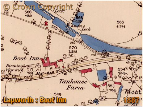 Lapworth : Map of the Boot Inn, Tanhouse Farm and Canal [1887]