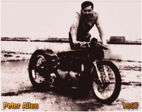 Peter Allen with his 1300cc twin-engined Triumph motorcycle [1967]