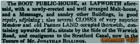 Lapworth : Advertisement for an auction of the Boot Inn [1827]