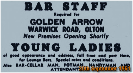 Olton : Advertisement for Bar Staff at the Golden Arrow on Warwick Road [1961]
