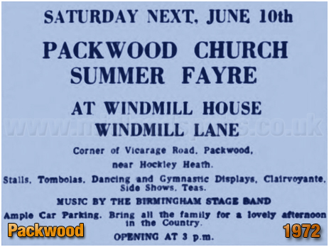 Notice for Packwood Church Summer Fayre at Windmill House [1972]