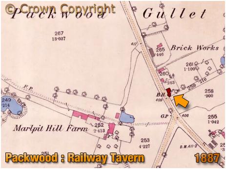 Packwood : Map of the Railway Inn near Dorridge [1887]