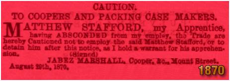 Notice of absent apprentice Matthew Stafford of Birmingham [1870]