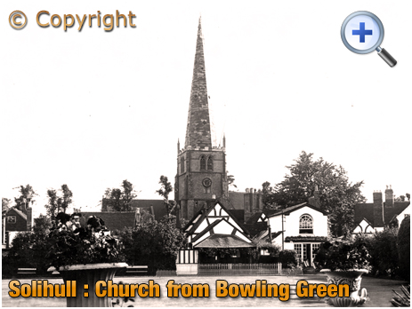 Solihull : Church of Saint Alphege from the Bowling Green of the George Hotel [c.1953]